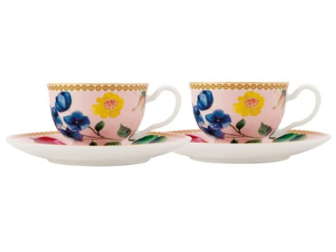 Maxwell & Williams Tea's & C's Contessa Set Of 2 Demi Cup And Saucers Rose