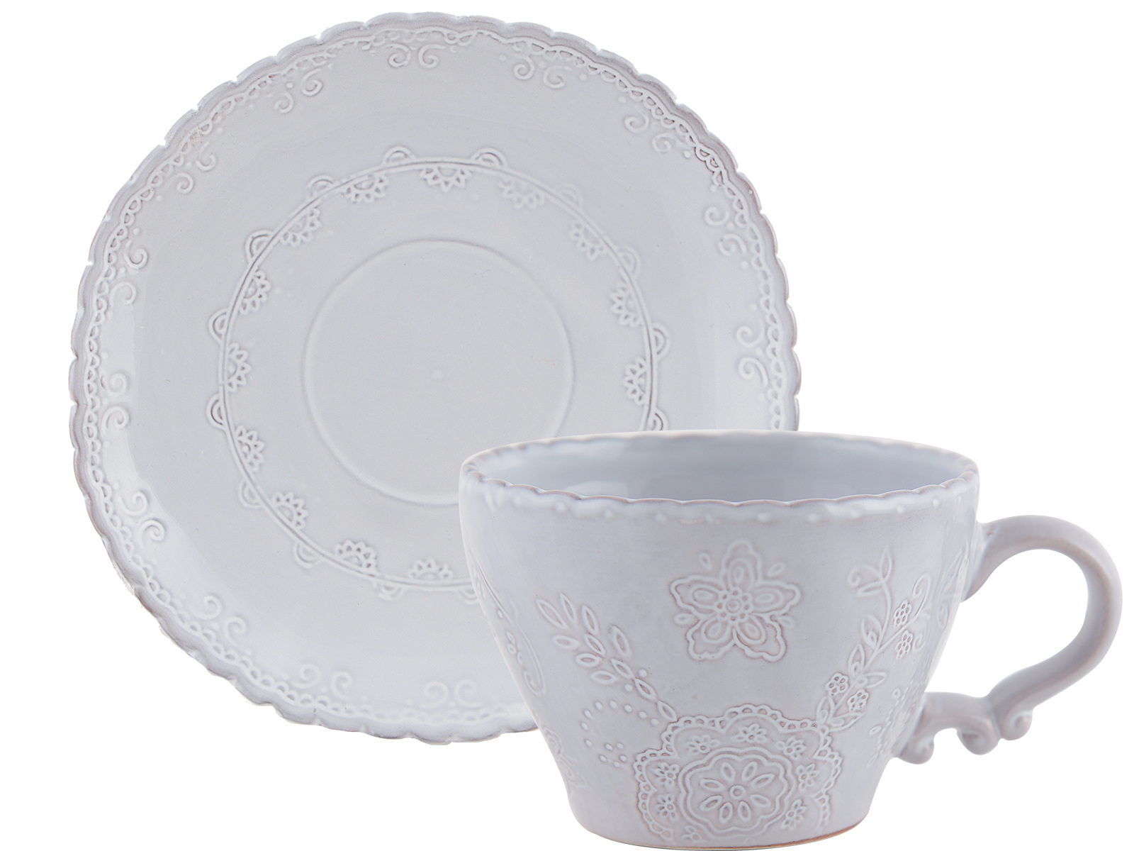 M By Mikasa Hush Embossed Cup And Saucer