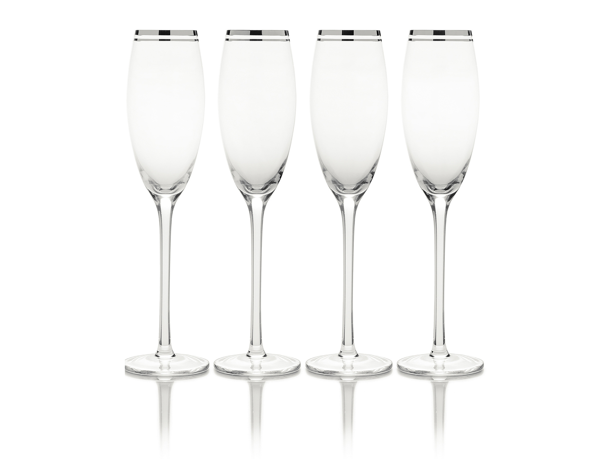 Mikasa Haley Set Of 4 Platinum 70Oz Flute Glasses
