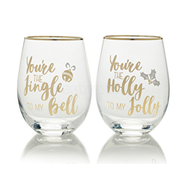 Mikasa Cheers Set Of 2 Stemless Jingle To My Bell And Holly To My Jolly Wine Glasses