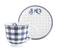 Katie Alice Vintage Indigo Gingham Cup And Saucer
