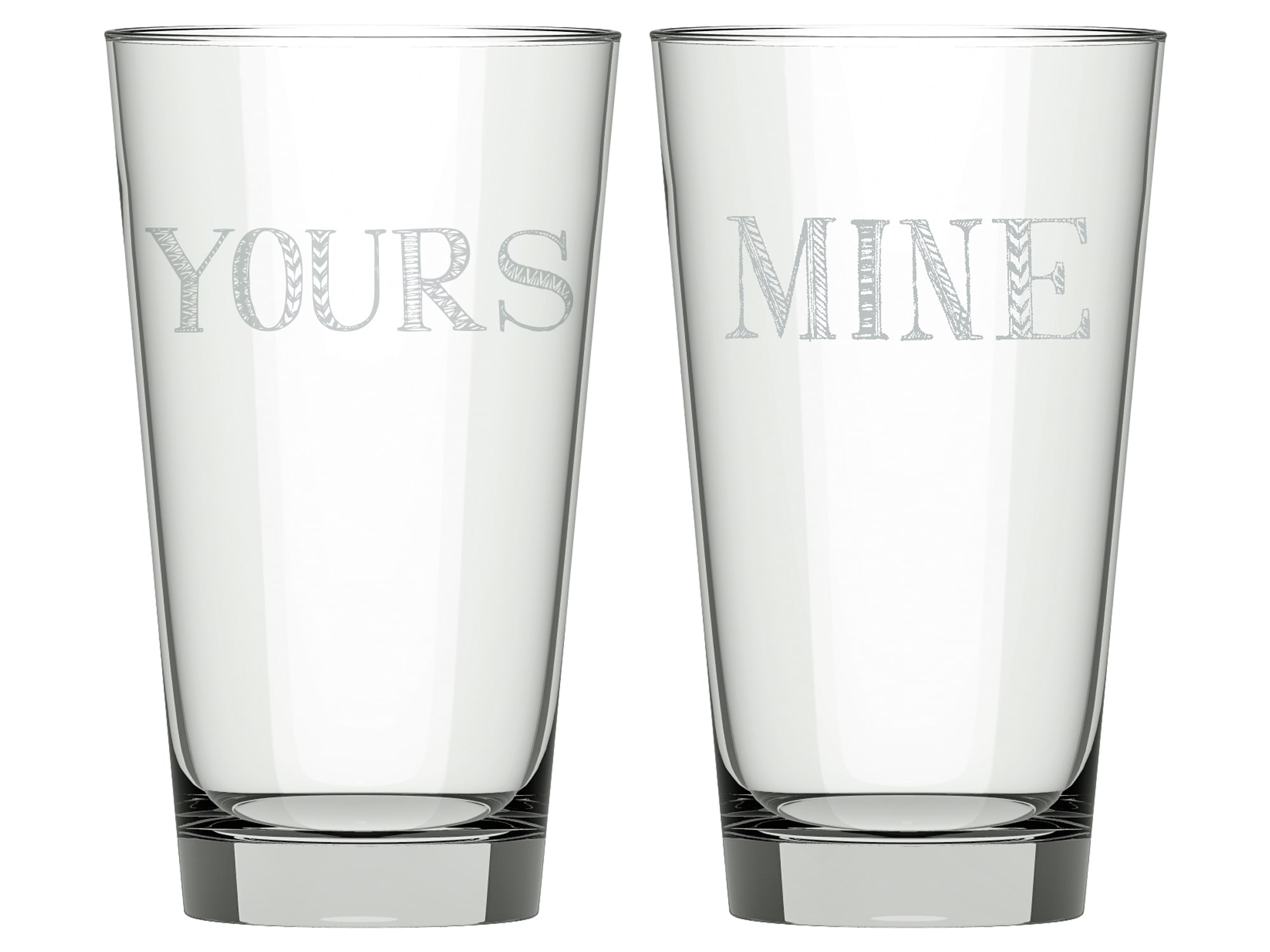 Creative Tops Stir It Up Set Of 2 Mine And Yours High Ball Glasses