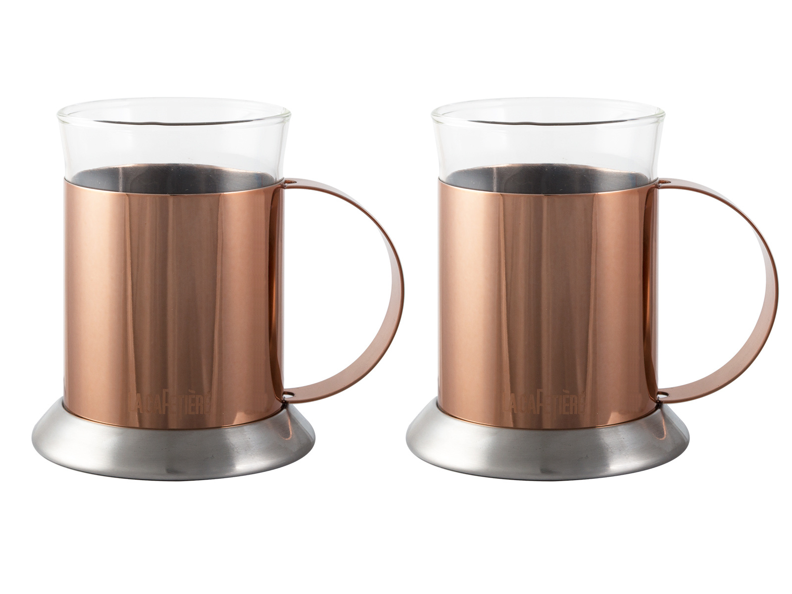 La Cafetiere Set Of 2 Copper Glass Cups