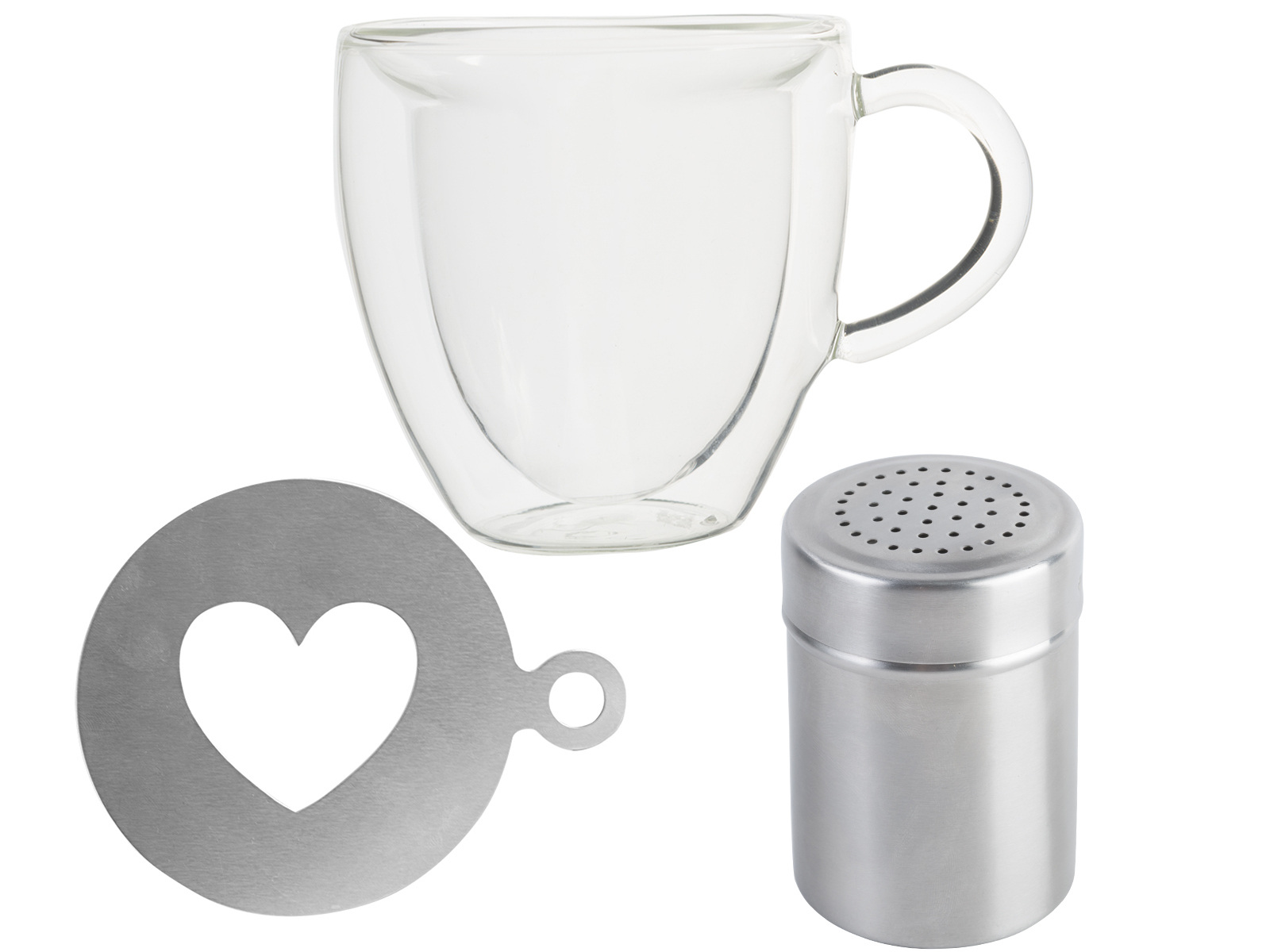 La Cafetiere Glass Mug Heart Stencil And Cocoa Shaker