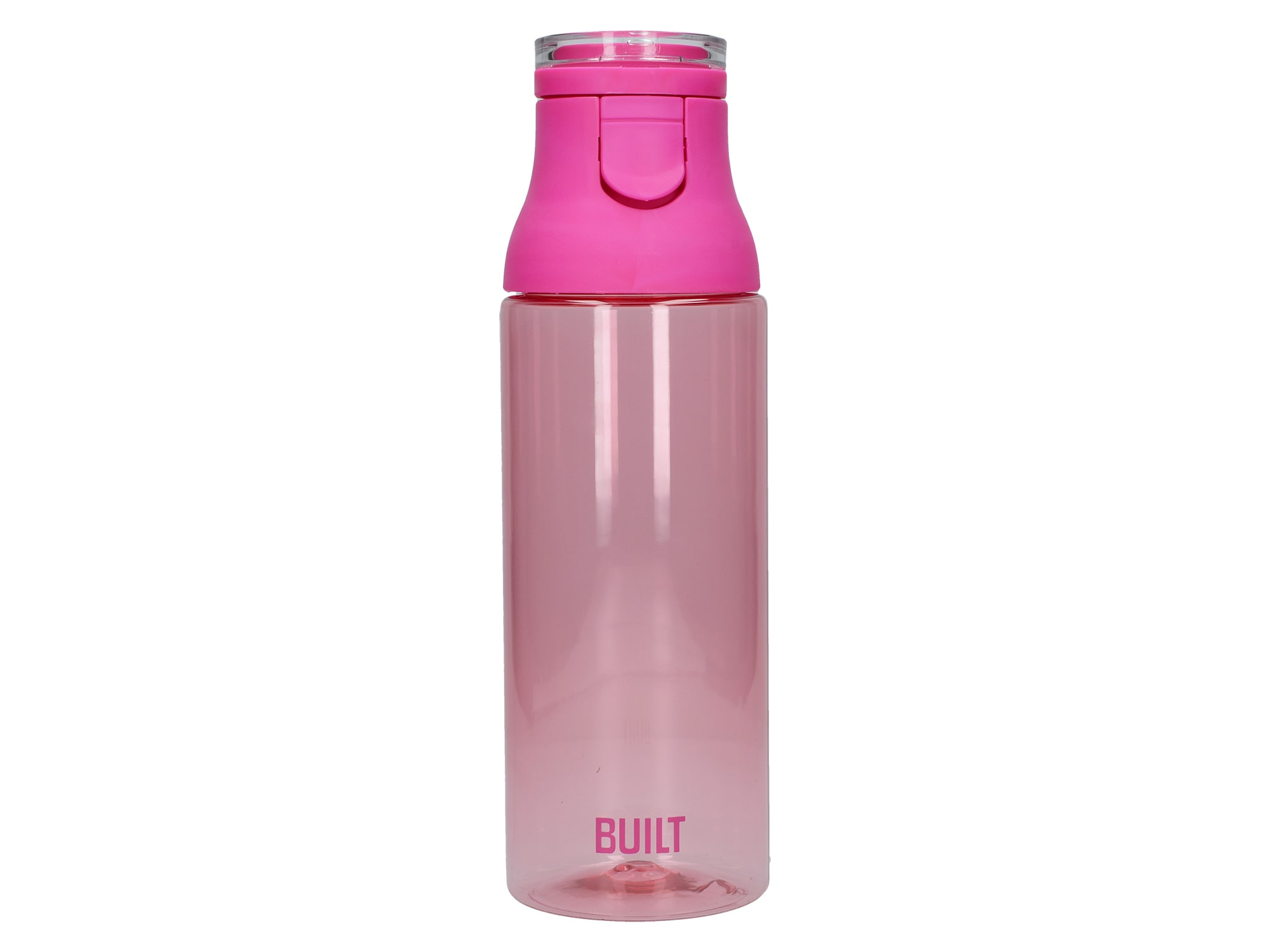 Built 25Oz Flip Top Single Walled Plastic Bottle Pink