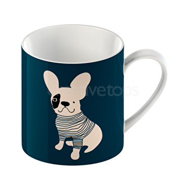 Everyday Home Pug Can Mug Blue
