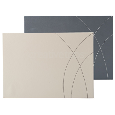 Creative Tops Pack Of 4 Stitched Faux Leather Placemats Reversible Greys