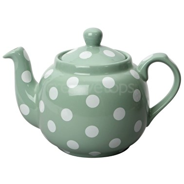 London Pottery Farmhouse 4 Cup Teapot Green With White Spots