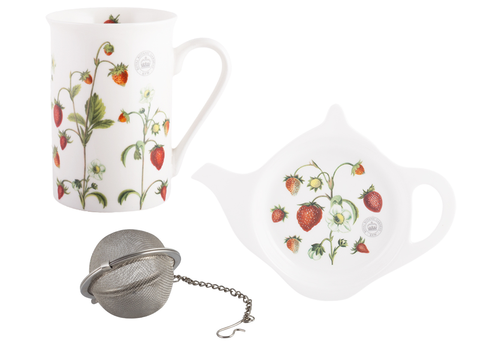 Kew Gardens Strawberry Fayre High Tea Mug Tea Tidy And Infuser Gift Set