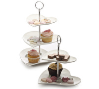 Maxwell & Williams White Basics Heart 2 Tier Cake Stand Gift Boxed