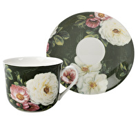 The English Table Floral Damask Breakfast Cup And Saucer