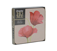 Everyday Home Papavero Poppy Pack Of 4 Coasters