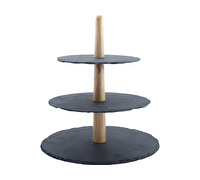 M By Mikasa Cocoon 3 Tier Serve Stand With Oak Stem