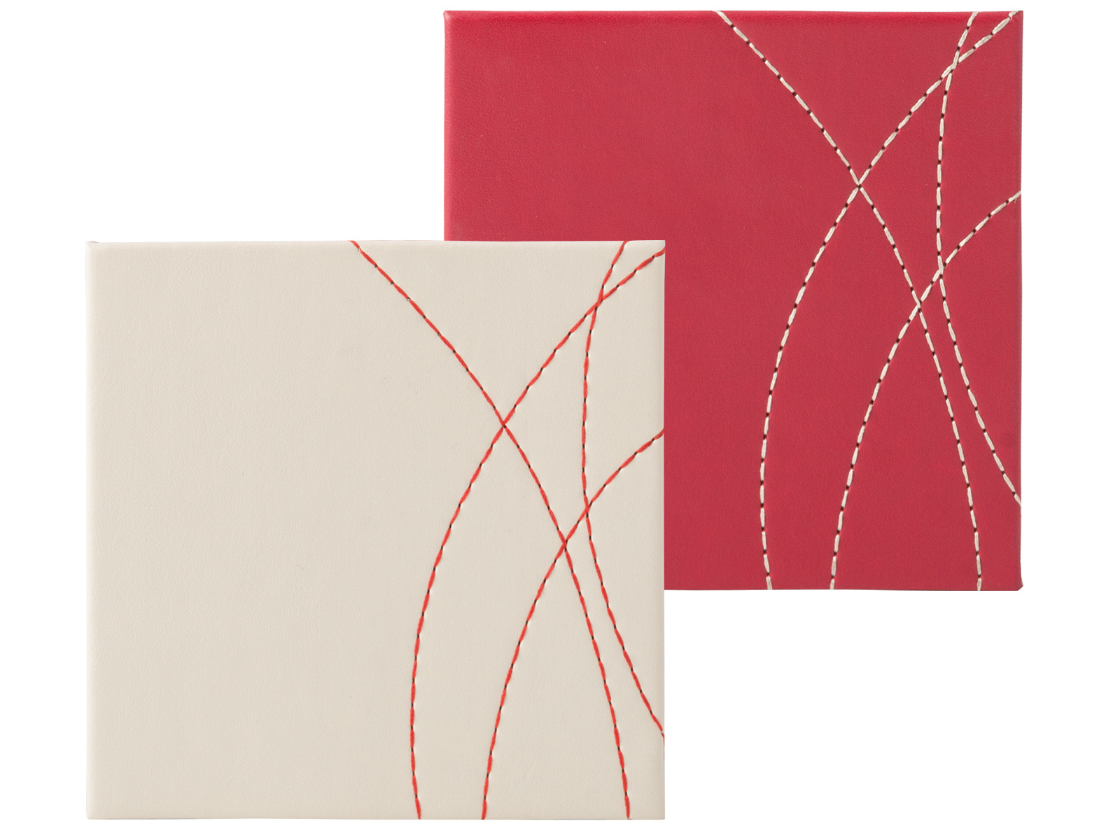 Creative Tops Pack Of 4 Stitched Faux Leather Coasters Red Cream