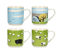 Creative Tops Woolly Mornings Set Of 4 Stacking Mugs