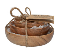 Creative Tops Naturals Set Of 3 Wooden Bowls