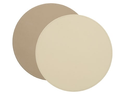 Creative Tops Naturals Premium Pack Of 4 Stitched Edge Faux Leather Placemats Cream Taup