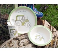 Creative Tops Visit A Farm Tractor 5Pc Kids Pressed Bamboo Dinner Set