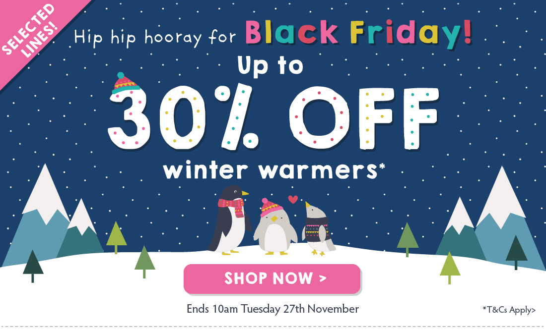Hip hip hooray for Black Friday! Up to 30% OFF winter warmers