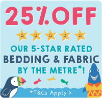 25% Off our 5-star rated bedding and fabric by the metre