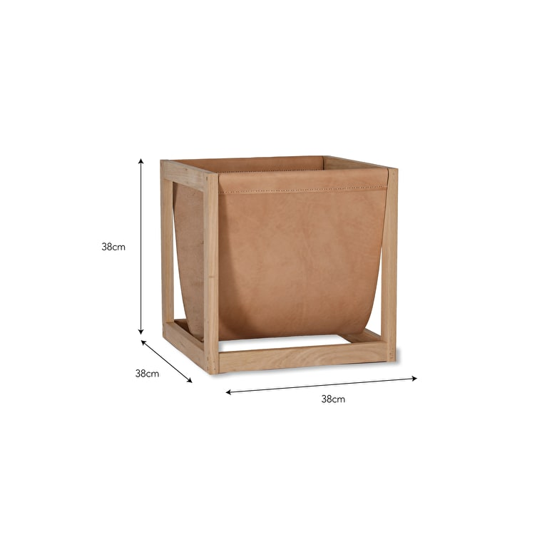 Oak and Leather Kelston Log Holder | Garden Trading