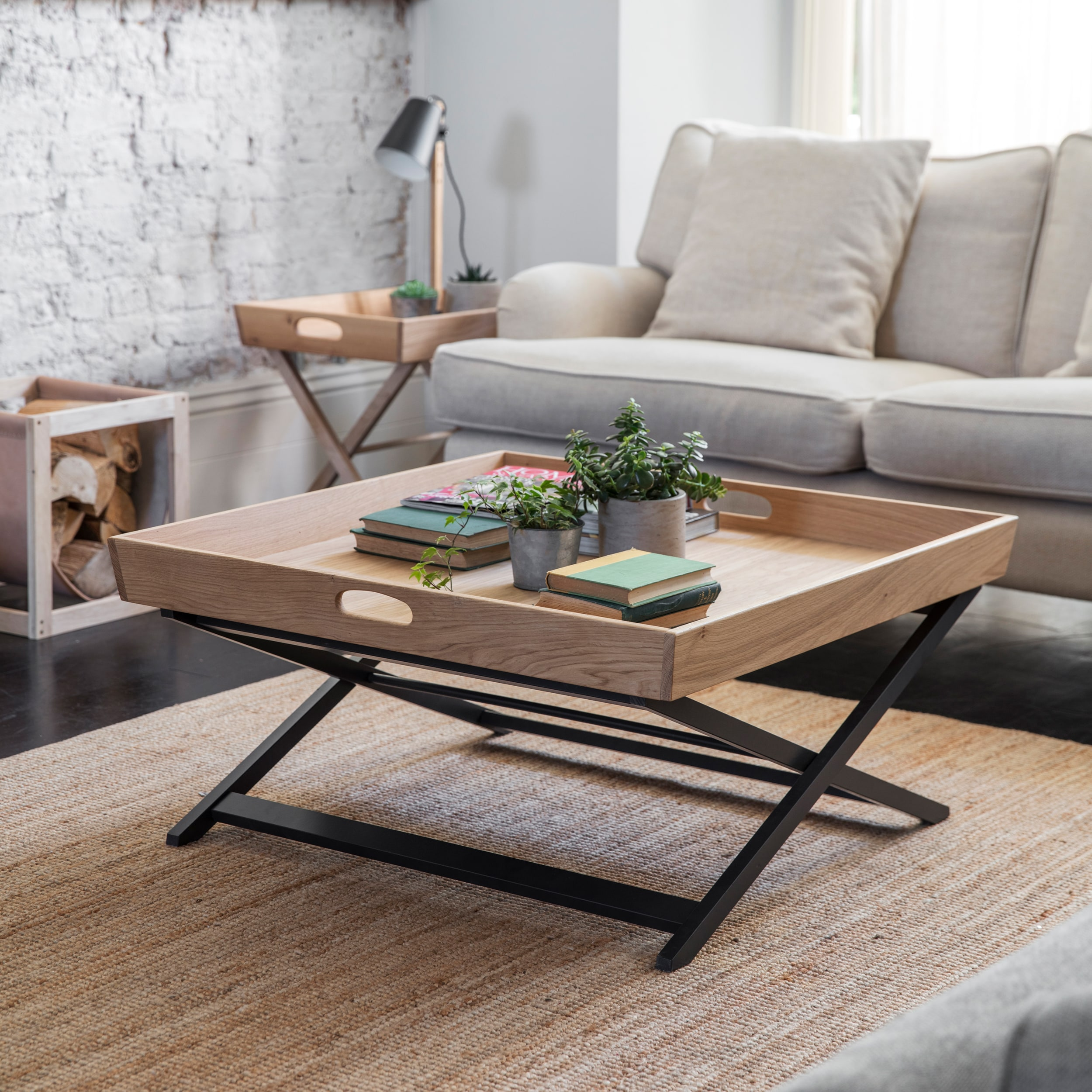 Oak Butlers Coffee Table Square in Black   Garden Trading