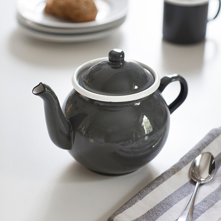 Enamel Tea Pot in Grey   | Garden Trading