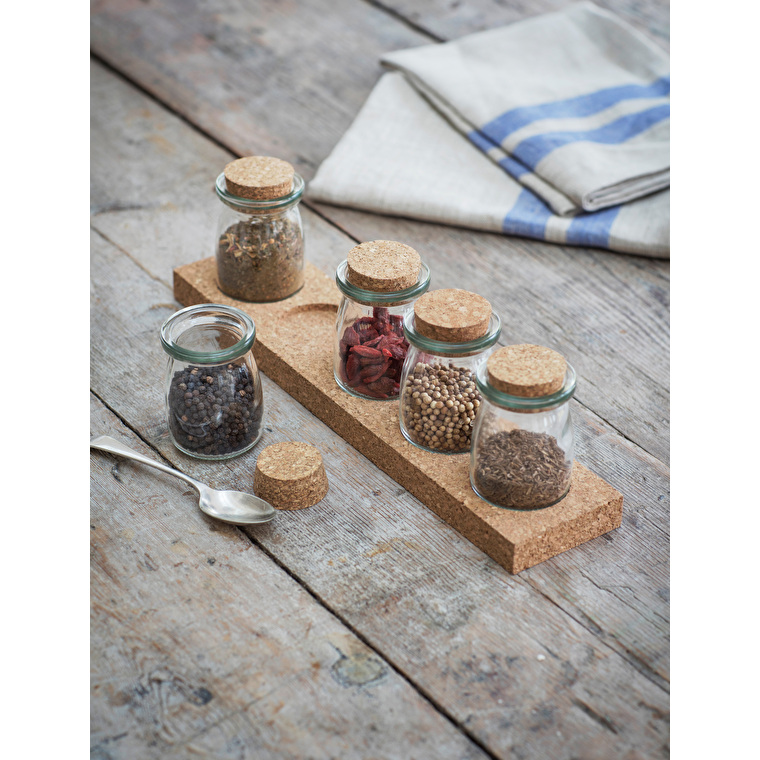 Glass and Cork Spice Rack with Five Jars    Garden Trading