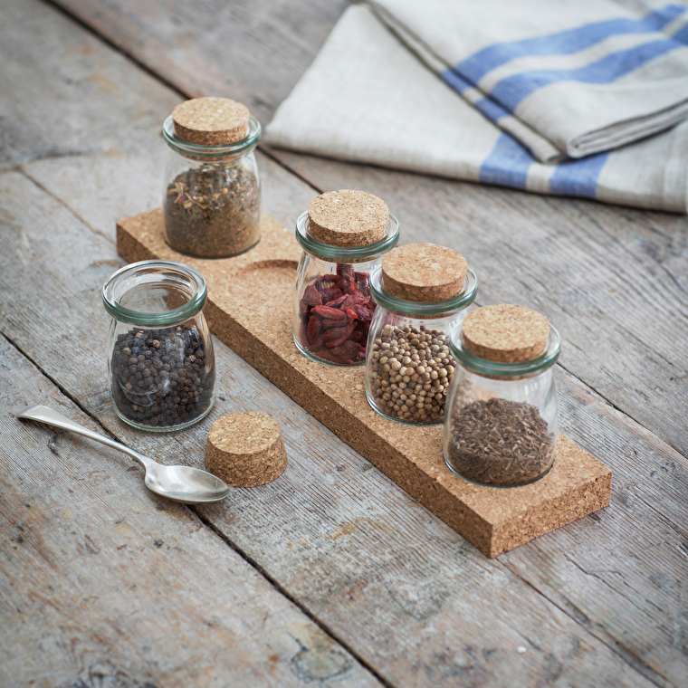 Glass and Cork Spice Rack with Five Jars  | Garden Trading