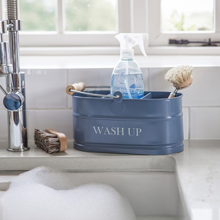 Steel Wash Up Tidy in White or Blue   Garden Trading