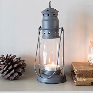 NQP Miners Lantern, Large in Charcoal - Steel