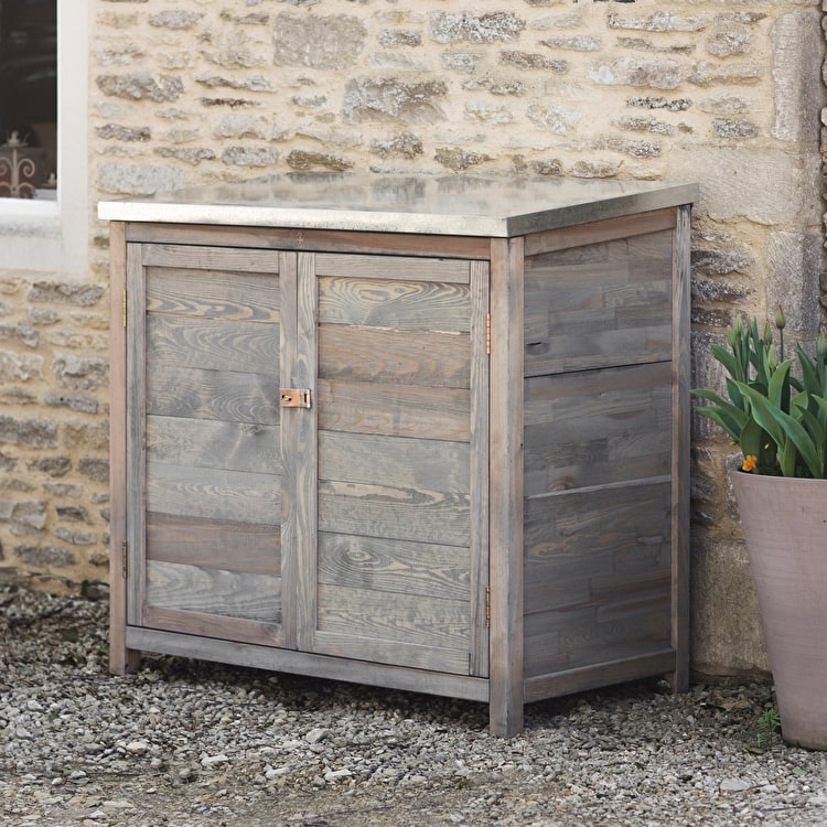 wooden tall aldsworth outdoor storage box garden trading