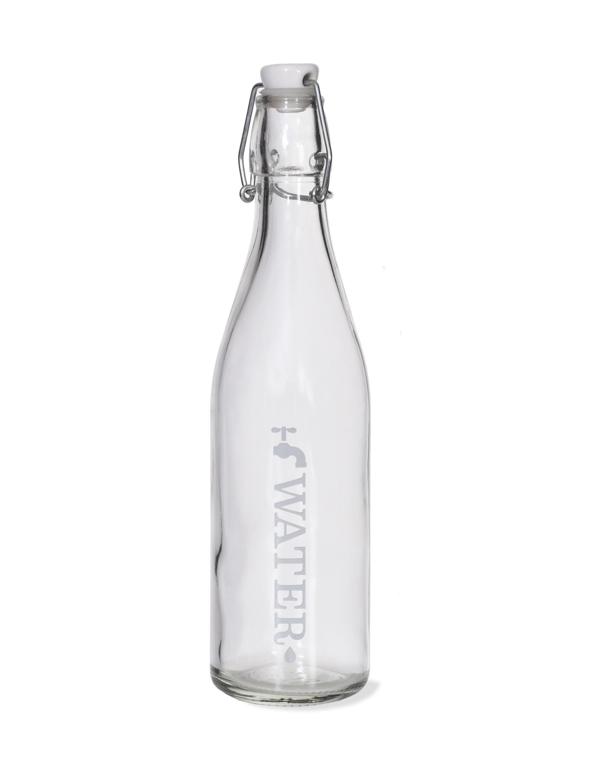 Glass Tap Water Bottle, White in Small or Large   Garden Trading