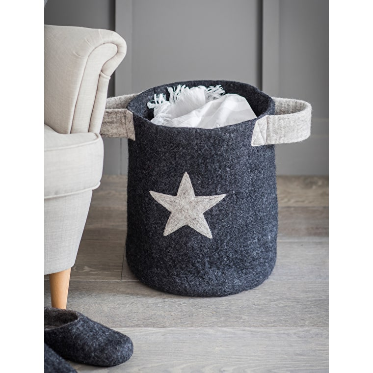 Fairtrade Felt Southwold Basket with Star | Garden Trading