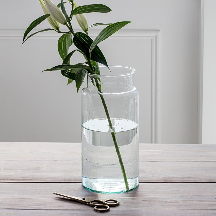 Recycled Glass Tall Broadwell Vase   Garden Trading