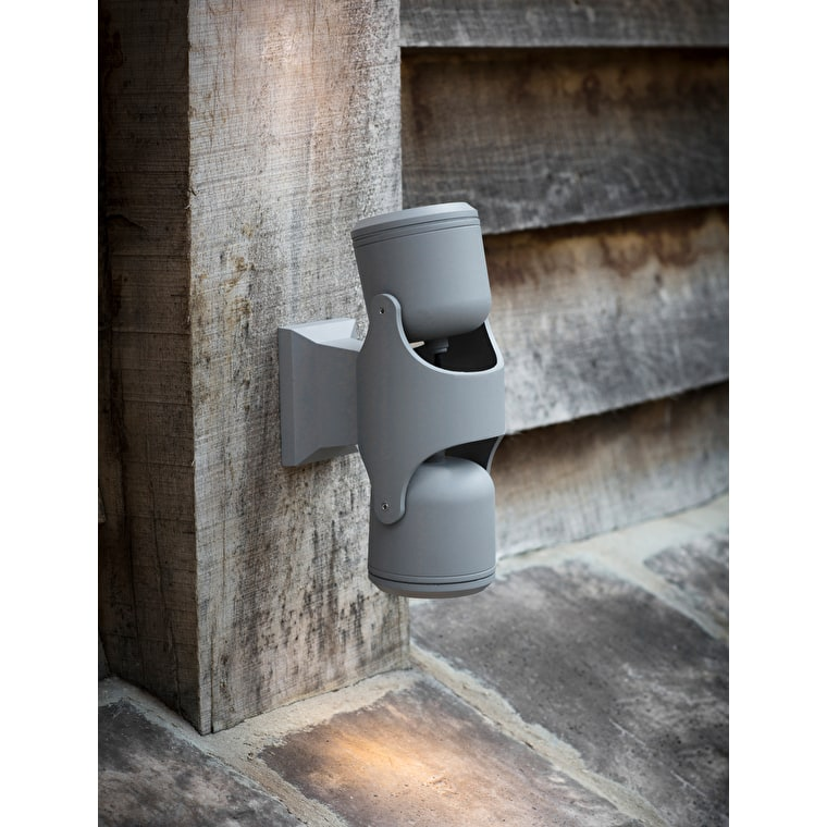Bovingdon Outdoor Double Wall Light in Grey | Garden Trading