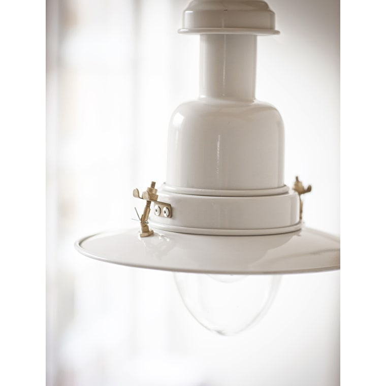 Large Indoor Pendant Fishing Light in Cream | Garden Trading
