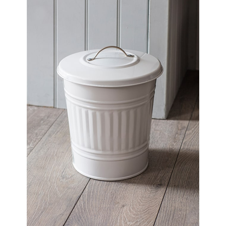 Steel Mini Bin in White or Cream | Garden Trading
