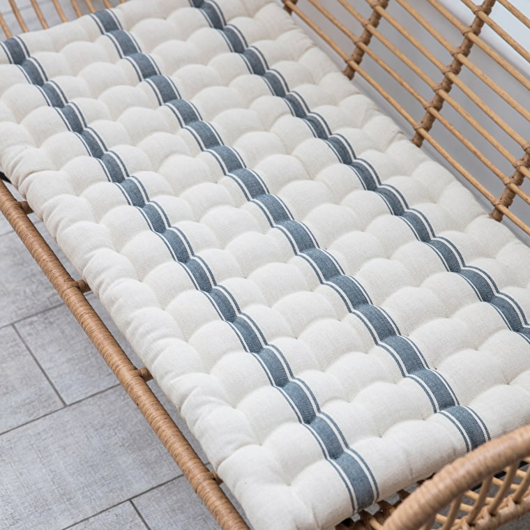 Cotton Hampstead Bench Seat Pad in Grey Stripe | Garden Trading