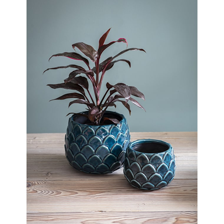 Ceramic Artichoke Plant Pot in Teal in Small or Large | Garden Trading
