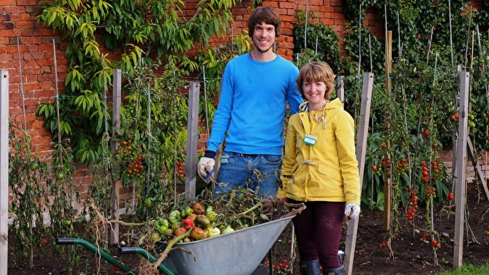 Volunteers Jame and Kate Benstead at Croome Walled Gardens Photo - Credit Peter Young