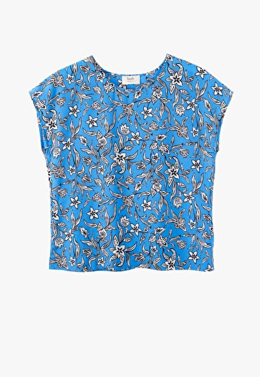 Boxy printed silk tee in woodblock french blue