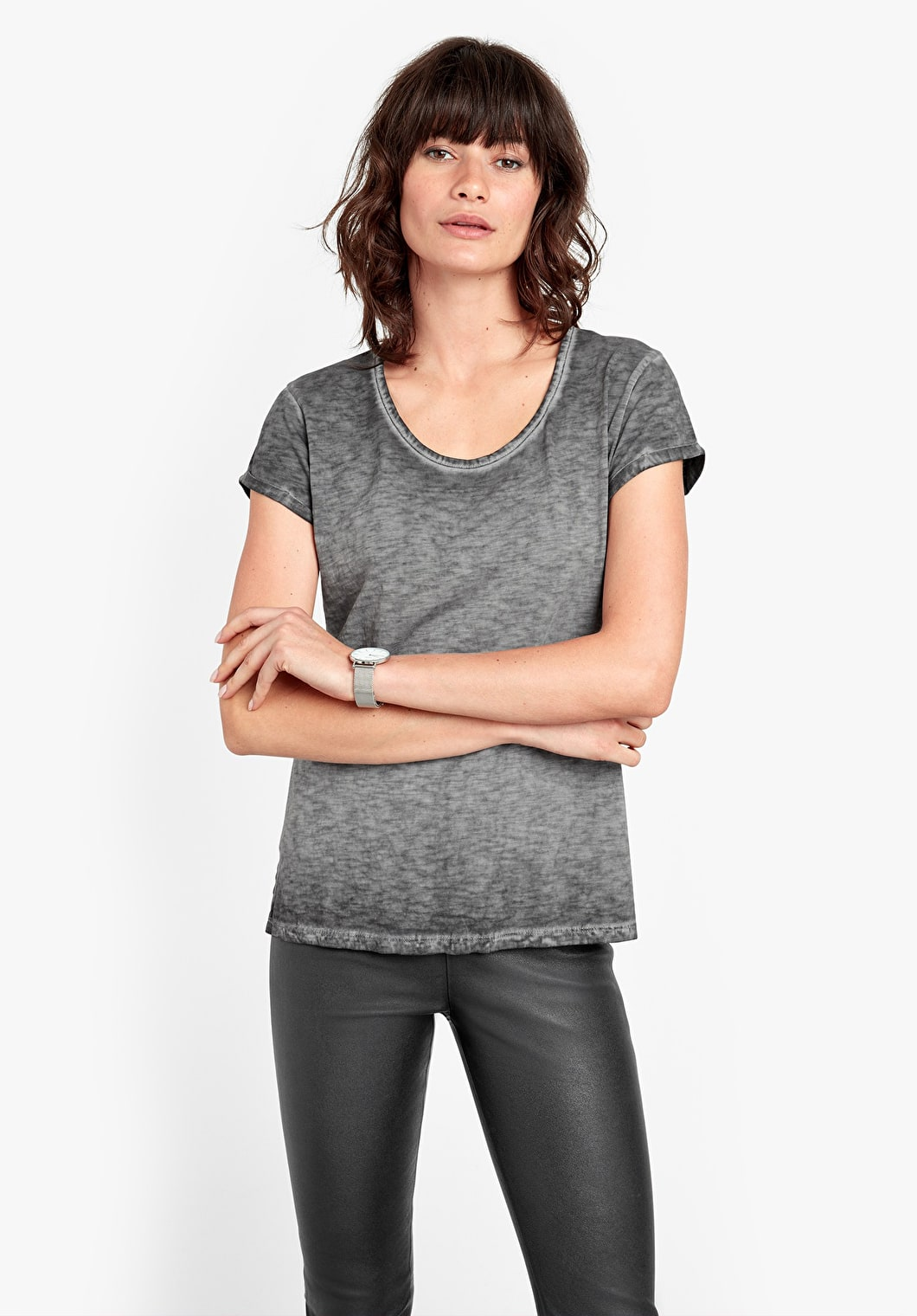 Washed Scoop Neck Tee   hush