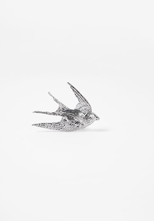 Stunning silver swallow pin brooch