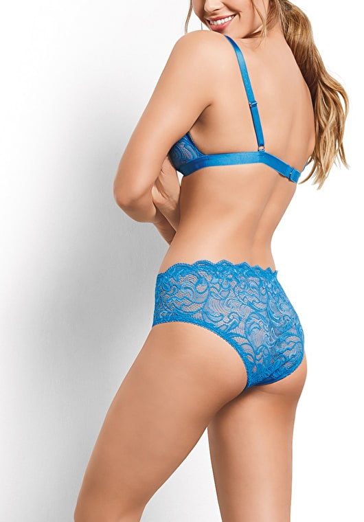 Model wears our lace knickers with a scalloped trim in french blue