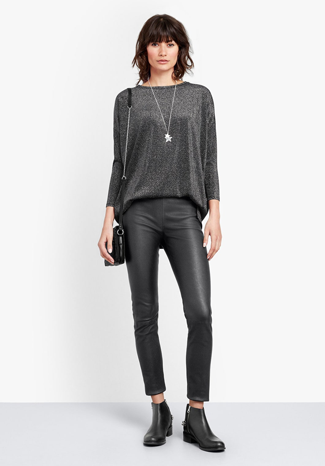 Glitter Wide Jersey Top | hush