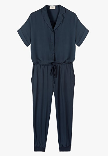 Lightweight jumpsuit with a waist cinching tie and button up shirt in Blueberry