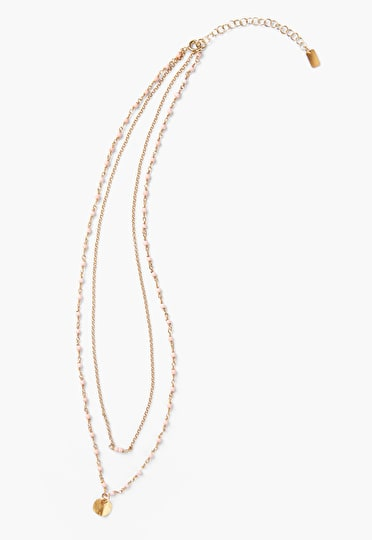 Two tiered layered necklace with tiny enamel beads and a delicate gold disc