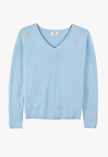 Shimmering star lightweight v neck knit in baby blue and silver stars