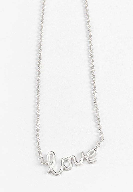 Silver Love Script necklace on an adjustable silver chain